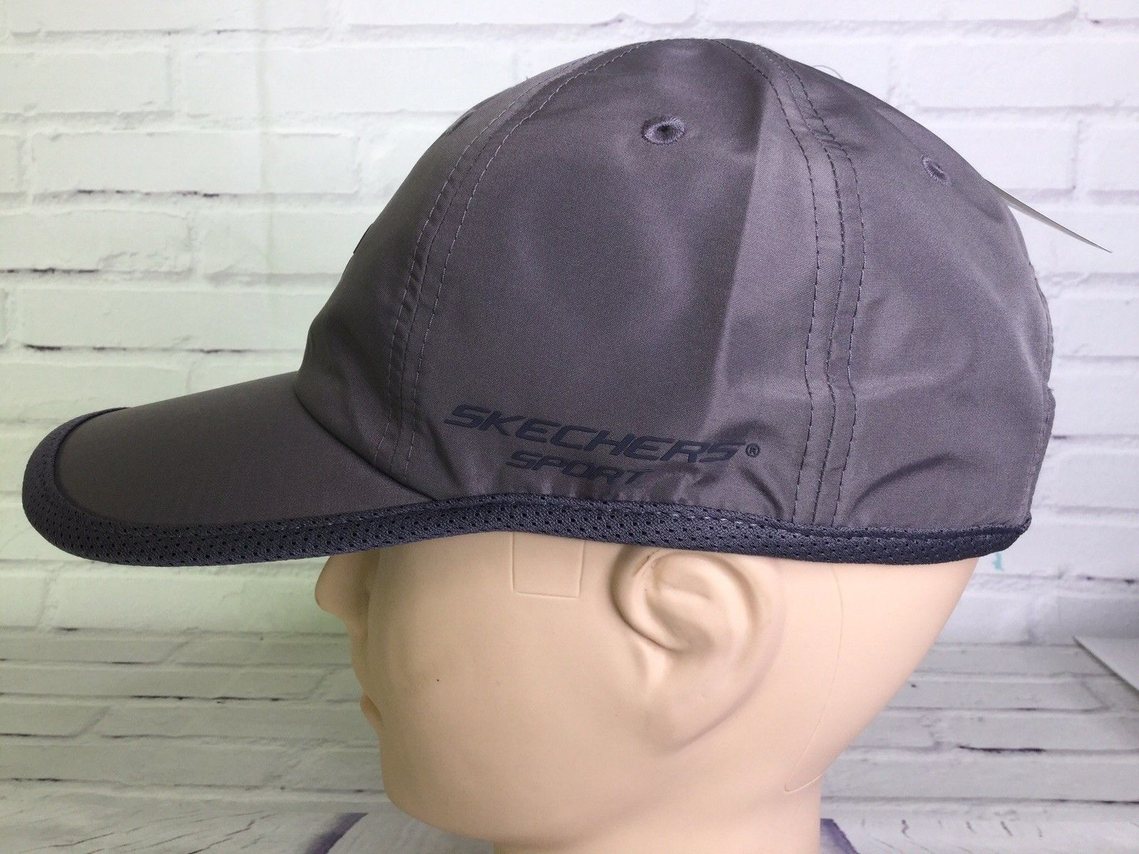 Skechers Sport Hat Cap Gray Strapback Logo Lightweight One Size Fits All