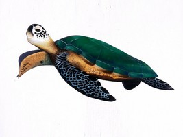 Sea Turtle hand Carved painted from large Palm Tree Frond, tortoise tort... - £60.96 GBP