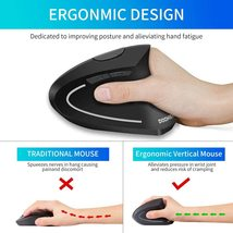 Doomier 2.4G Wireless Ergonomic Vertical Mouse with USB Receiver, 6 Buttons image 2