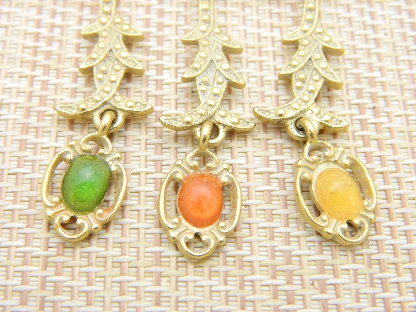 Art Nouveau Style MultI-Color Rhinestone Cabochon Dangle Pin Brooch Vintage