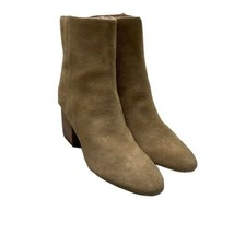 J CREW Sadie Ankle Boots Sz 10.5 Suede Leather Tan Block Heel Side Zip - $70.13