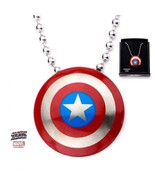 Marvel Stainless Steel Captain America Logo Pendant with 22 inch Chain - $65.00