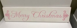❤HP SHABBY COTTAGE CHIC PINK ROSES HANDPAINTED MERRY CHRISTMAS SIGN WOOD... - $45.00