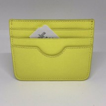 Neiman Marcus Crosshatched Leather Slim Card Case/Wallet.Citron Yellow - $26.18