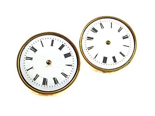 Vintage Goldtone Porcelain Watch Face Cufflinks Made In France 62617 - $143.54