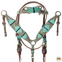 Hilason Western Horse Headstall Breast collar American Leather Turquoise... - $89.09