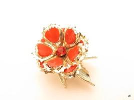 Orange Enamel Vintage 1950's Gold Plated Rhinestone Flower Brooch Pin  F485 - $14.80