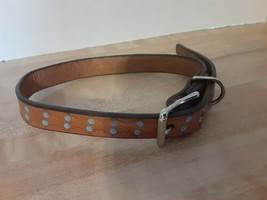 """LEATHER DOG COLLAR BROWN BRASS STEEL HANDMADE BY AMISH 3/4"""" WIDE - $24.74"""