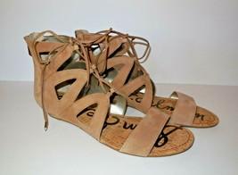 Sam Edelman Dean Strappy Sandals sz 10 M Flats Golden Caramel Cork Wedge - $30.00