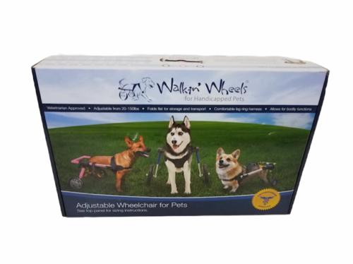 NEW Box Walkin Wheels Handicapped Pet Dog Wheelchair MEDIUM 26-50 LBS Blue