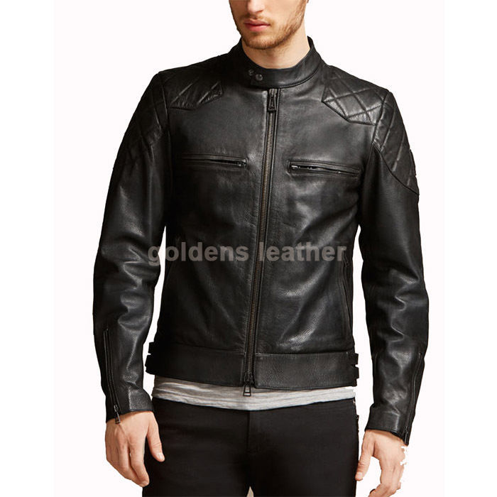New Men's Stylish Lambskin Genuine Leather Motorcycle Biker Slim Fit Jacket GN25