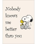 """Snoopy Woodstock """"Nobody Knows Me Better Than You"""" Stand-Up Display - Gi... - $15.99"""