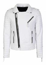 Mens Leather Jacket Motorcycle Black Real Lambskin Biker Vintage Coat Sl... - $110.33