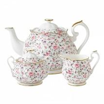 Royal Albert Rose Confetti 3-Piece Tea Set Teapot Sugar and Creamer New  - $201.12