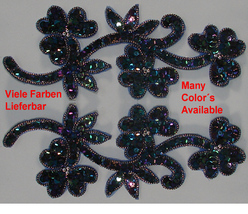 pair appliques sequins applikationen pailletten sew on embroidery handmade ap53 - $9.99