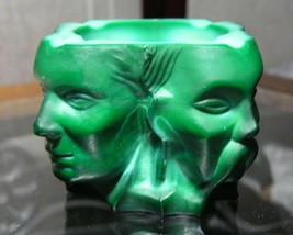 Vintage Deco Period MALACHITE ASHTRAY Four Races of Man !! - $300.50