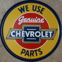 "Chevrolet Genuine Parts Metal Sign Tin New Vintage Style 11.75"" Round USA #1072 - $10.29"