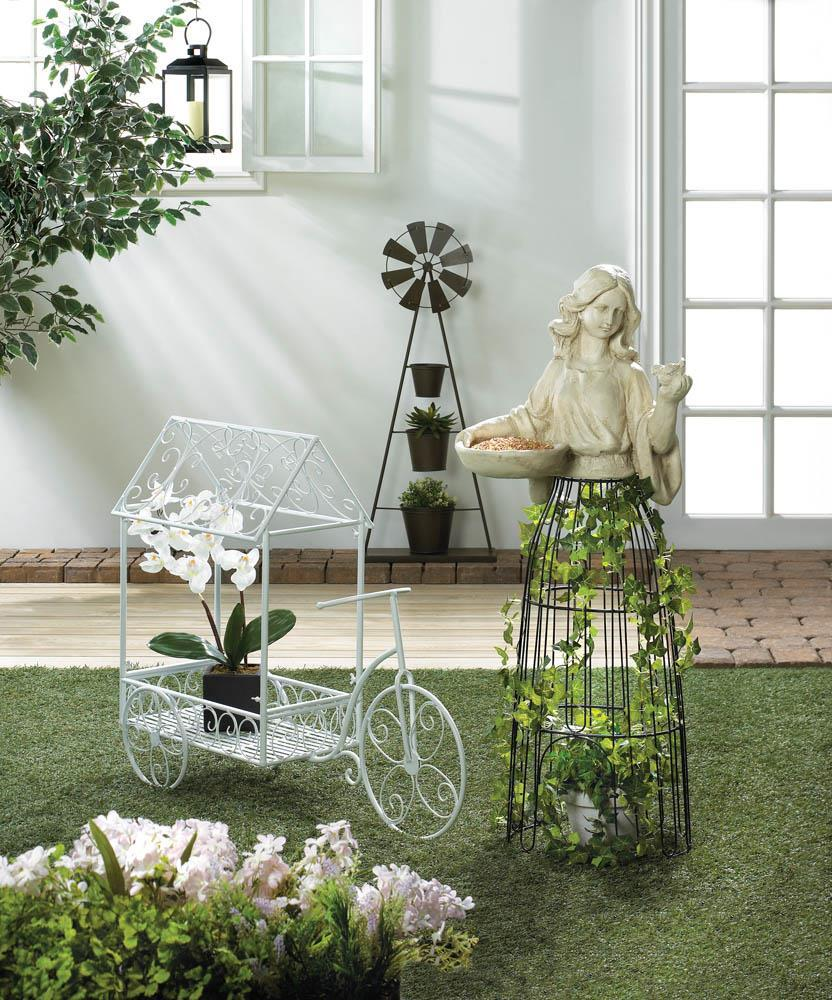 """LADY PLANT ATRIUM and Birdfeeder Garden Art Outdoor 43"""" Tall"""