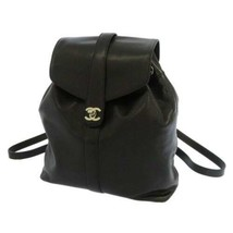 CHANEL Backpack Caviar Leather Black CC Logo Silver Hardware Italy - $2,757.63