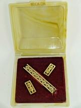 Vintage Hickok Gold Tone Chain Link Pattern Wide Cufflinks & Tie Bar w/ ... - $21.11