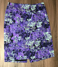 Talbots Purple And Green Floral Size 8 Midi Pencil Skirt 22 Long - $19.80