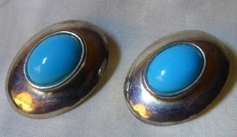 Vintage 1960s Large Silvertone Clamp Back EARRINGS Faux Turquoise Cabochons - $10.00