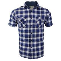 Overdrive Men's Cotton Plaid Button Up Casual Short Sleeve Slim Fit Dress Shirt image 11