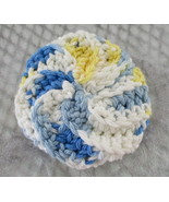 Crochet Cotton Bath Puff - Blue Yellow White - $7.95