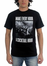 Kr3w Make Every Hour A Cocktail Hour Black White Graphic Tee Cotton T-Shirt