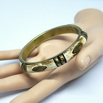 Vintage Brass and Inlaid Bone Bangle Bracelet VTG Chic Statement Jewelry  - $12.97