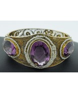 Art Nouveau (ca. 1900) 14K Yellow Gold Amethyst and Seed Pearl Bangle Br... - $1,850.00