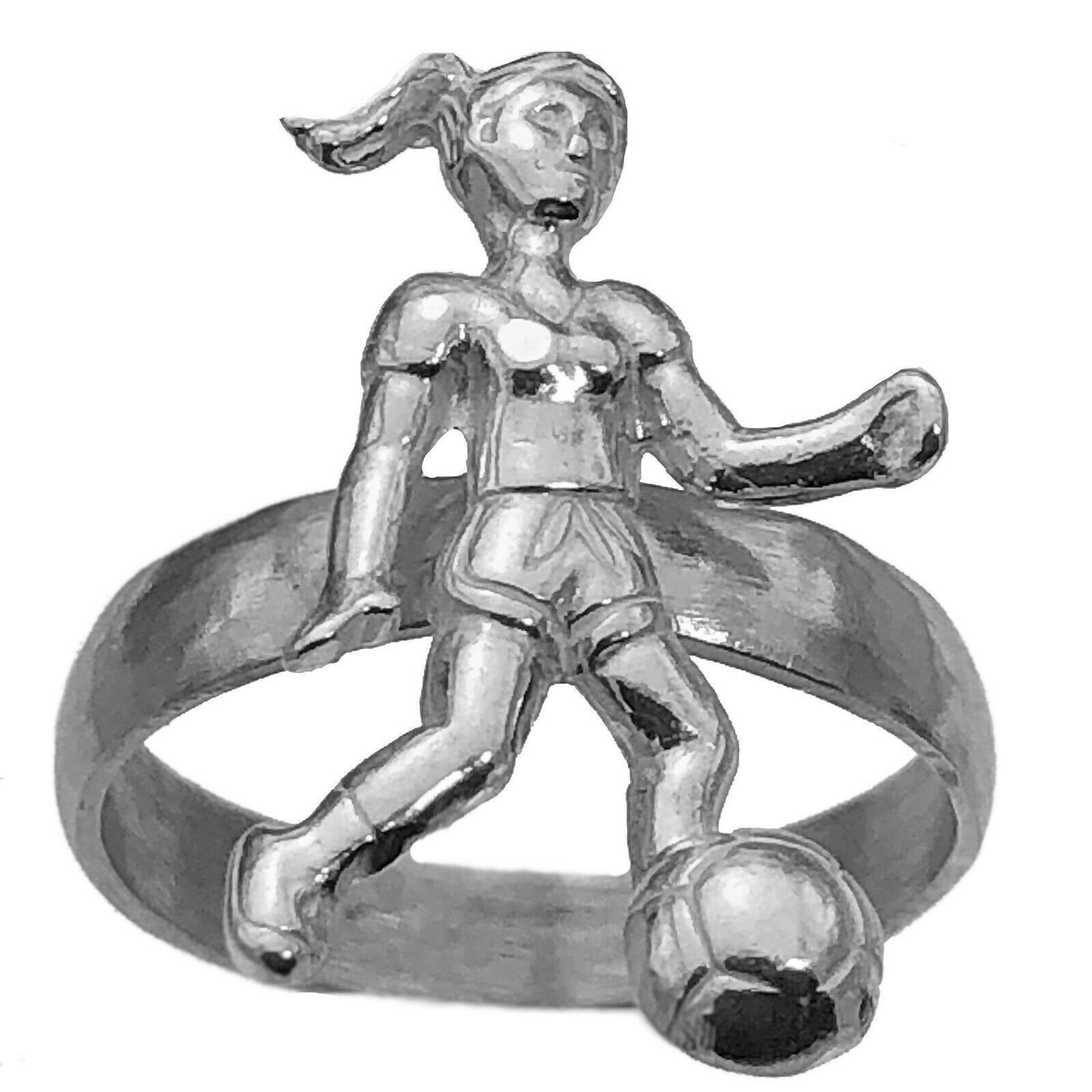 SOCCER Genuine Sterling Silver 925 Ring Girls Women team Ball gear Player New