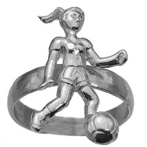 SOCCER Genuine Sterling Silver 925 Ring Girls Women team Ball gear Playe... - $33.82