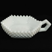 Westmoreland VTG Hexagonal Candy Dish Milk Glass Handled Sawtooth Hobnai... - $11.24