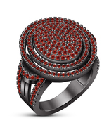 10k Black Gold Plated Pure 925 Silver Round Cut Red Garnet Engagement Ba... - $146.86