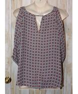 Womens Medallion Print IZ Byer 3/4 Sleeve Cold Shoulder Shirt Size 2X ex... - $7.91