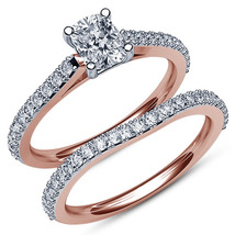 Oval Shape White CZ Bridal Engagement Ring Set 14k Rose Gold Plated 925 Silver - $86.99