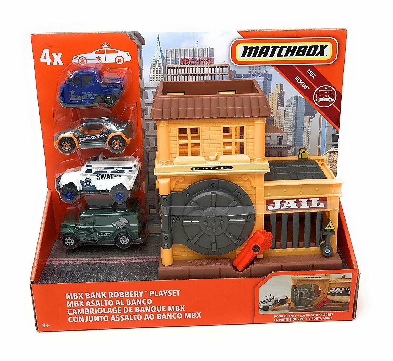 Matchbox Bank Robbery Playset - Bank Jail 4 Vehicles - MBX Rescue - $22.24