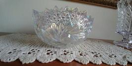 Carnival Glass Clear Iridescent Bowl Buzz Star Pattern Pinwheel Dish - $84.99
