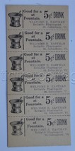 antique 6 TICKETS 5c FOUNTAIN DRINK st johnsbury vt PHARMACY welcome b e... - $28.95