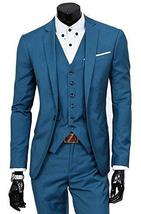 Mens Three Piece Blue Lapel Collar Grey Tweed Slimfit Black Suit image 3