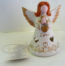 Angel Love Tea Light Candle Holder Russ Berrie Figure with Hang Tag Porcelain  - $6.49