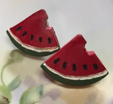 "Vintage Handmade Artsy Painted Wooden Watermelon Slices Stud Pierced Earrings 1"" image 1"