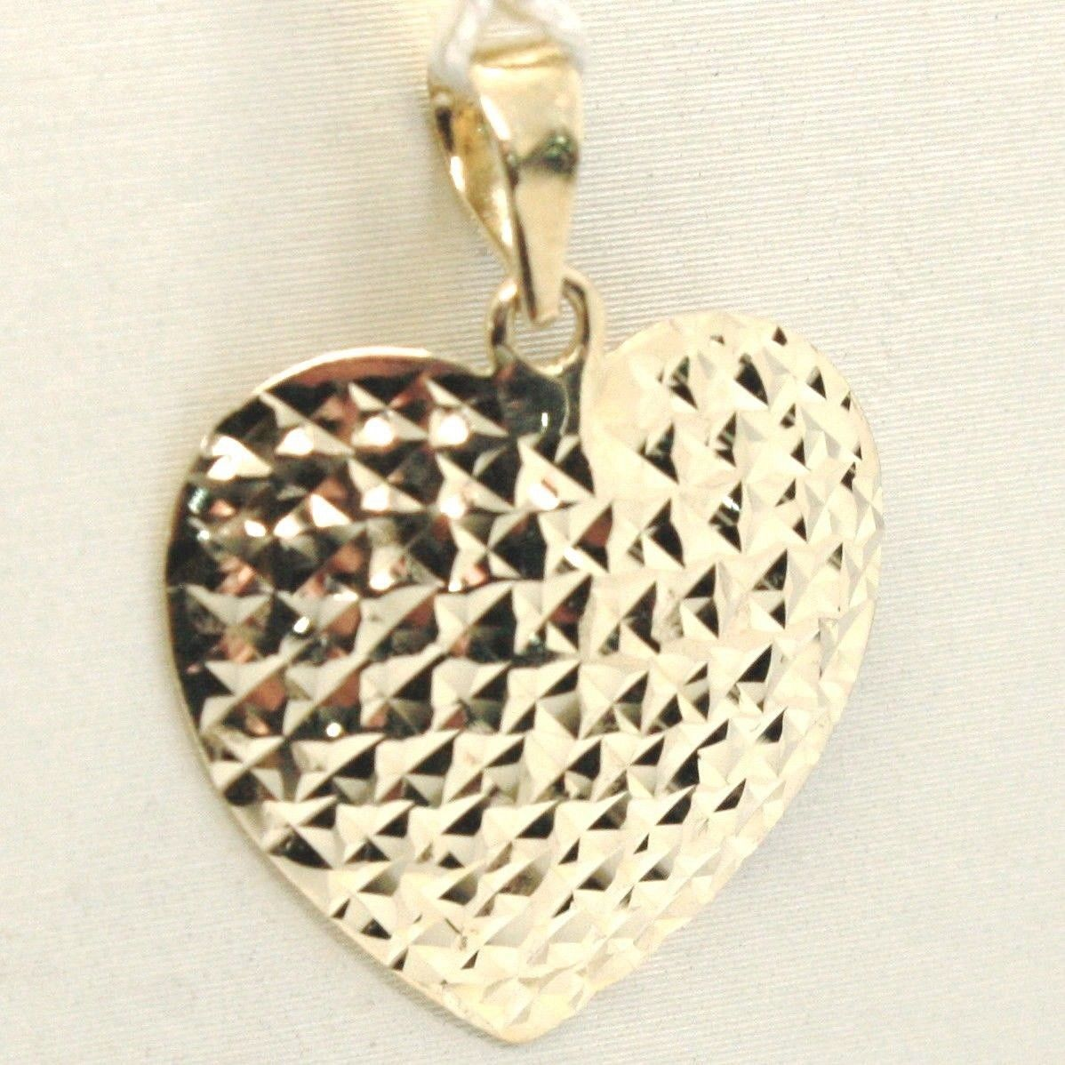 YELLOW GOLD PENDANT 0,5 WHITE 750 18K, HEART FINELY MILLED, MADE IN ITALY