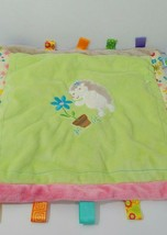 Taggies hedgehog baby security blanket flower pot green flowers satin back  - $29.69