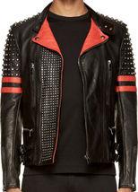 New Men's Back Red Half Silver Studded Stripes Biker Leather Jacket - $149.99+