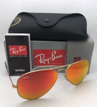 Polarized RAY-BAN Sunglasses RB 3025 LARGE METAL 112/4D 58-14 Gold Orange Mirror
