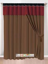 4-Pc Clover Trellis Floral Curtain Set Burgundy Black Coffee Valance Sheer Liner - $40.89