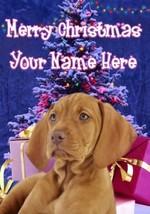 Vizsla Dog Merry Christmas Personalised Greeting Card Xmas codeXM232 - $3.93