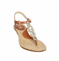 MICHAEL KORS ~Size 8~ Rhinestone Leather Espadrille Wedge Sandals Retail... - $95.00